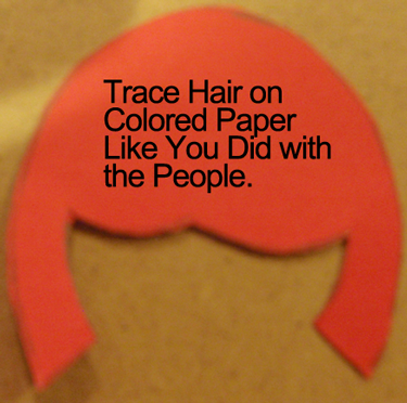 Trace hair on colored paper
