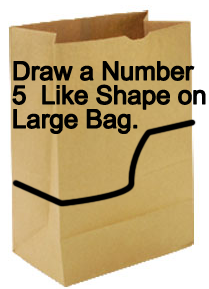 Draw a number 5 like shape on large bag.