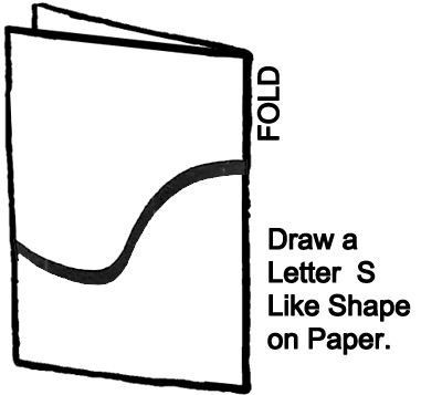 Draw a letter 'S' like shape on the paper.