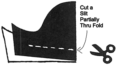 Cut a slit partially thru fold.