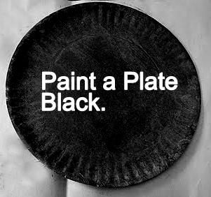 Paint a plate black.