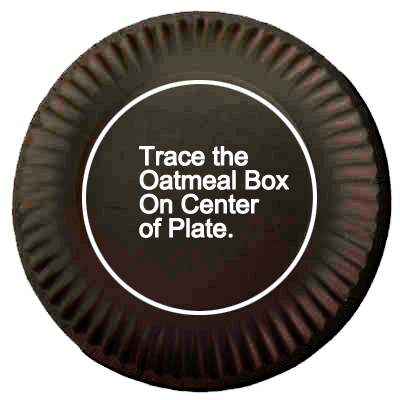 Trace the oatmeal box on the center of plate.