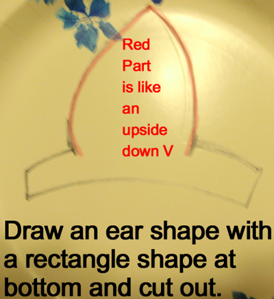 Draw an ear shape with a rectangle shape at the bottom and cut out.