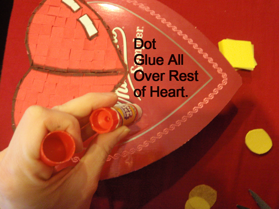 Dot glue all over the rest of heart.