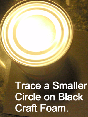 Trace a smaller circle on black craft foam.