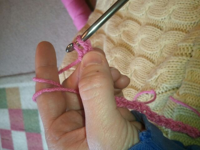 You will again have 2 loops on your crochet hook