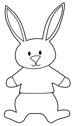Black & White Bunny Template