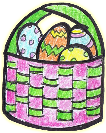 Finished woven paper Easter basket