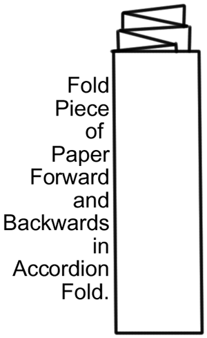 Fold piece of paper forward and backwards in accordion fold.