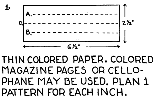 Thin colored paper, colored magazine pages or cellophane may be used.