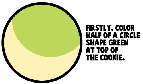 color half of a circle shape green at top of the cookie.