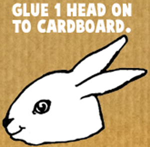 Glue 1 head on to cardboard.