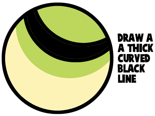 Draw a thick curved black line.