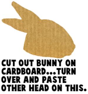 Cut out bunny on cardboard