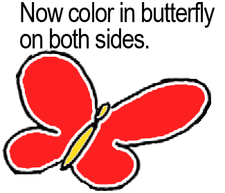 Now color in butterfly on both sides.