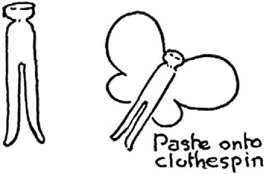 Paste onto clothespin.