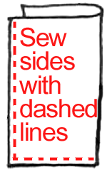 Sew sides with dashed lines.