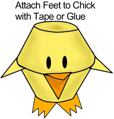 Attach feet to chick with tape or glue.