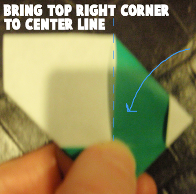Bring top right corner to center line.