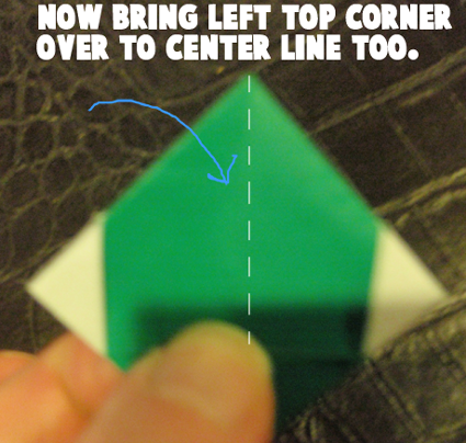Now bring left top corner over to center line too.