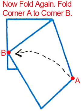 Fold corner A to corner B.
