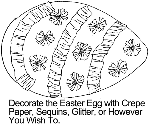 Decorate the Easter egg with crepe paper, sequins, glitter