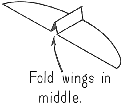 Fold wings in middle.