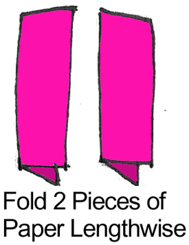 Fold 2 pieces of paper lengthwise.
