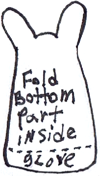 Fold bottom part inside glove.