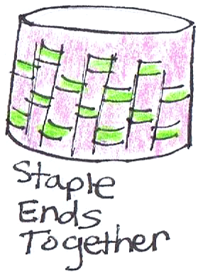 Staple ends together.