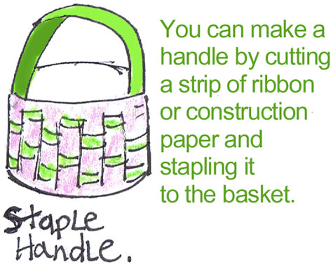 make a handle by cutting a strip of ribbon or construction paper and stapling it to the basket.