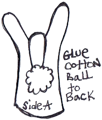 Glue cotton ball to back.