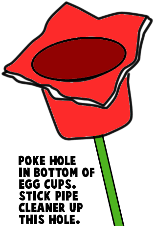 Poke hole in bottom of egg cups.
