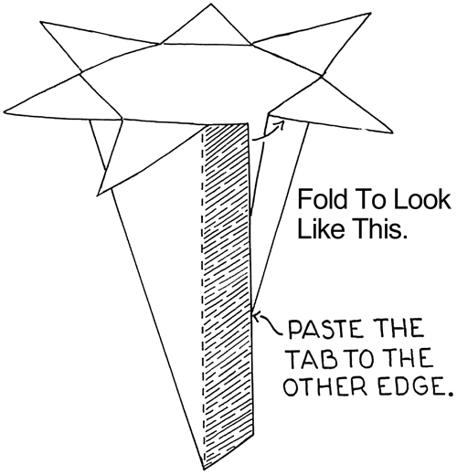 Fold to look like image above.  Paste the tab to the other edge.