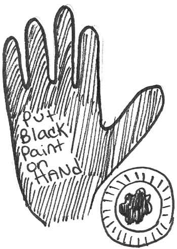 Put black paint on hand.
