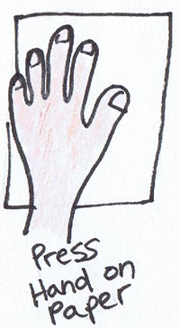 Press hand on paper.