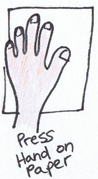 Press hand on paper.