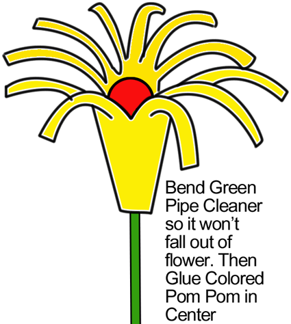 Bend green pipe cleaner so it won't fall out of flower.