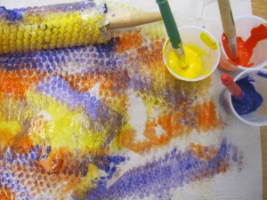 Roller Pin and Bubble Wrap Painting