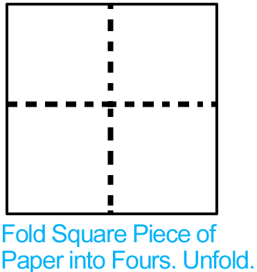 Fold square piece of paper into fours.  Unfold.