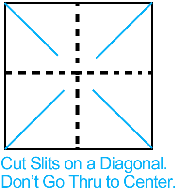 Cut slits on a diagonal.  Don't go thru to center.