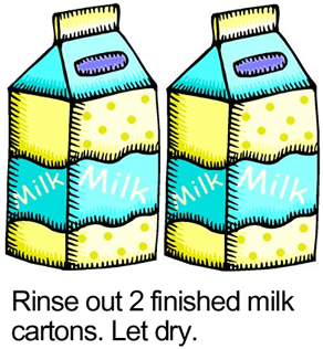 Rinse out 2 finished Milk Cartons.