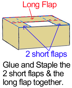 Staple or glue half flaps and remaining long flap together.