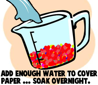 Add enough water to cover paper... soak overnight.