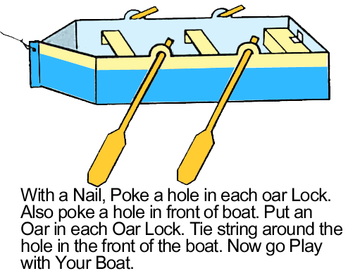 With a nail, poke a hole in each oar lock.