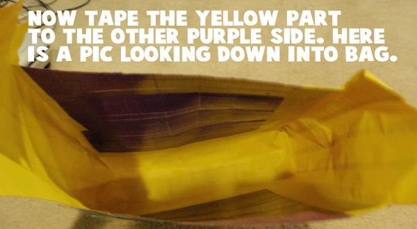 Now tape the yellow part to the other purple side.