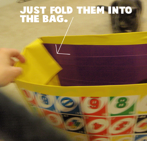 Just fold them into the bag.