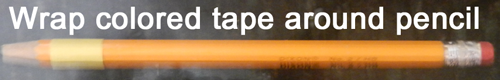 Wrap colored tape around pencil.