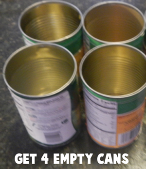 Get 4 empty cans.
