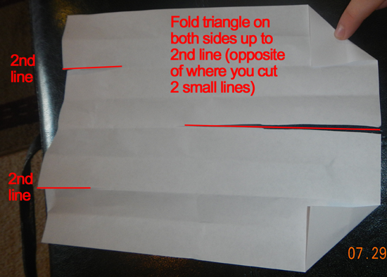 Fold triangle on both sides up to the second line